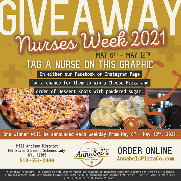 Annabel's Pizza Co. Nurses Week Giveaway